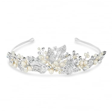 Freshwater pearl and crystal leaf hand wrapped tiara