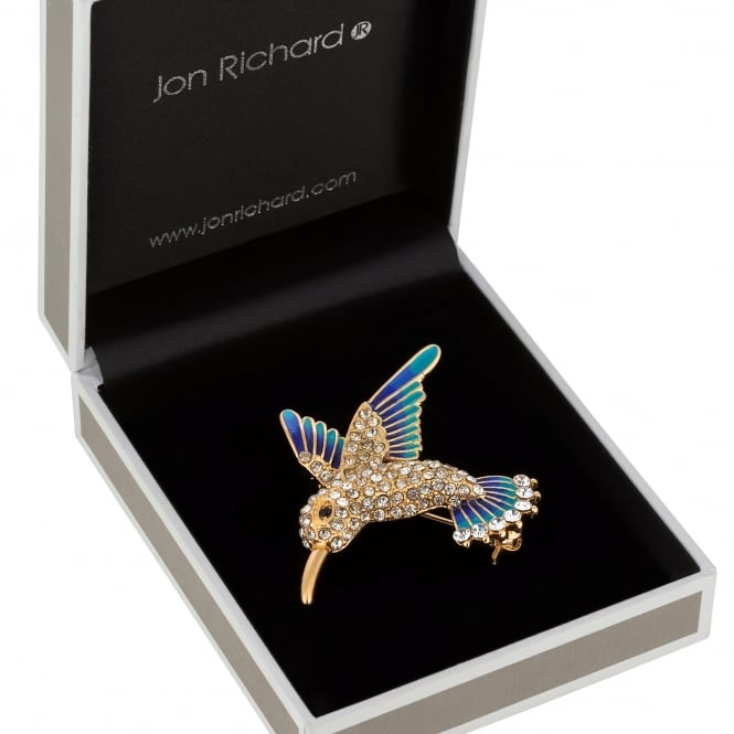 Gold Blue Crystal Hummingbird Brooch In A Gift Box
