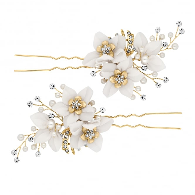 Jon Richard Gold Cream Crystal Floral Hair Pin Set