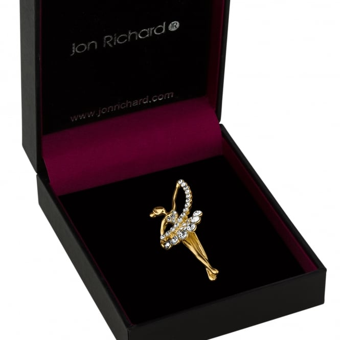 Gold Crystal Ballet Dancer Brooch In A Gift Box