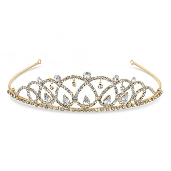 Gold Crystal Beaded Statement Tiara