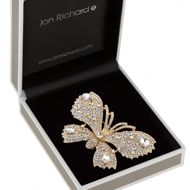 Jon Richard Gold Crystal Butterfly Brooch In A Gift Box