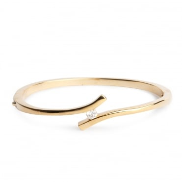 Gold crystal curve bangle