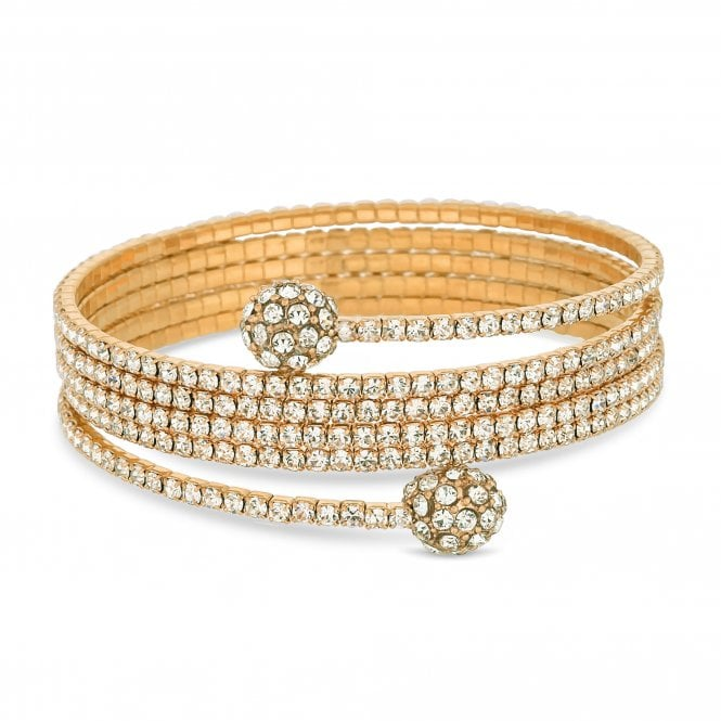 Gold Crystal Diamante Coil Bracelet