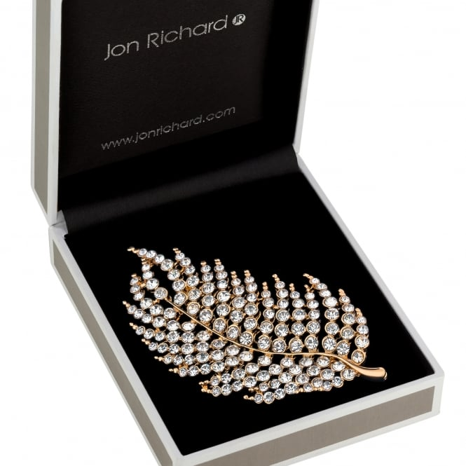 Gold Crystal Feather Brooch In A Gift Box