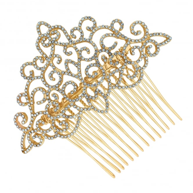 Gold crystal filigree hair comb