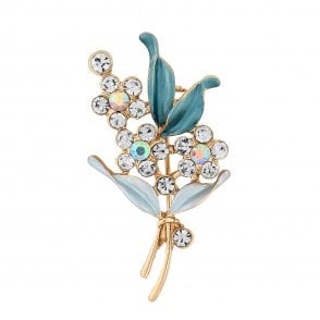 a586be76776 Jon Richard Gold Crystal Flower And Painted Blue Leaf Bouquet - Gift Boxed