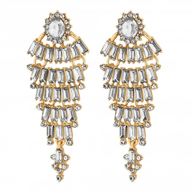Gold Crystal Halo Statement Drop Earring