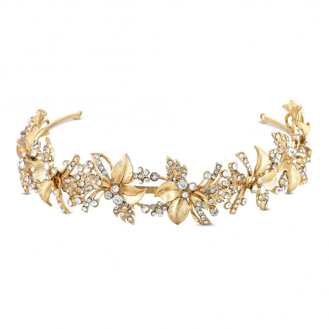 Jon Richard Gold Crystal Leaf Headband