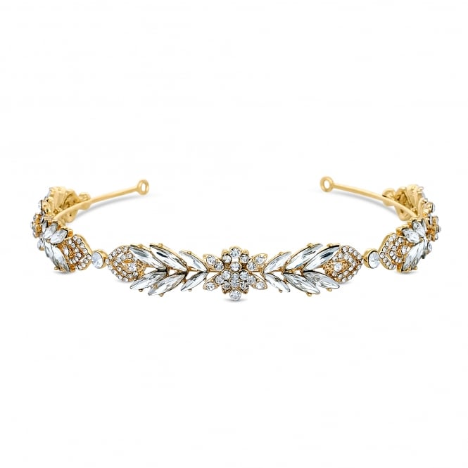 Jon Richard Gold Crystal Navette Leaf Headband