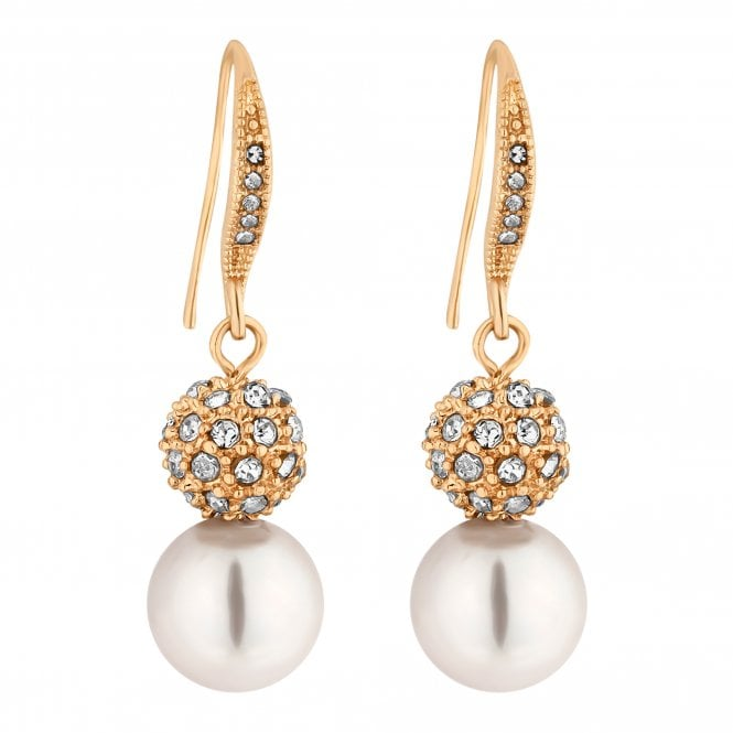 Gold Crystal Pave Orb And Pearl Drop Earring