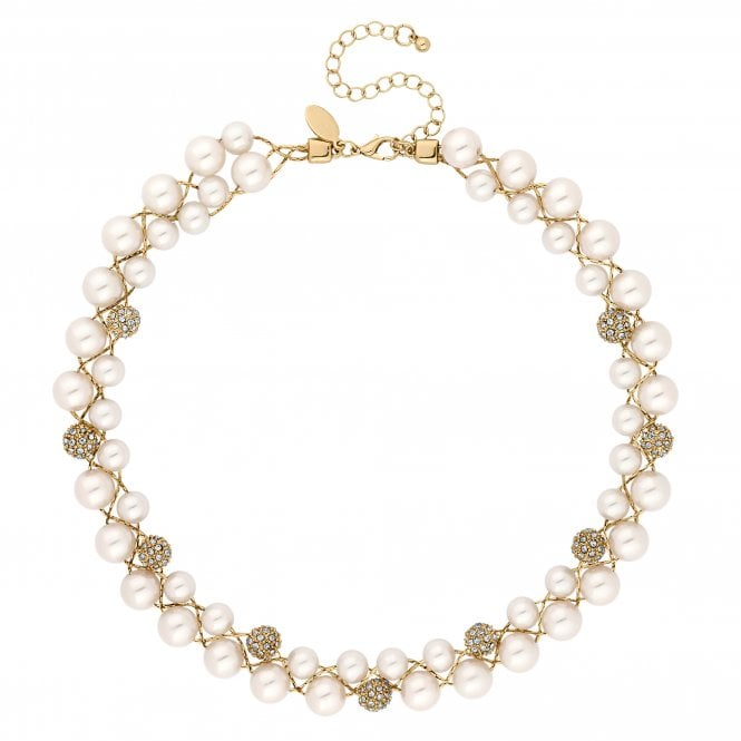 Gold Crystal Pave Orb And Pearl Twist Necklace