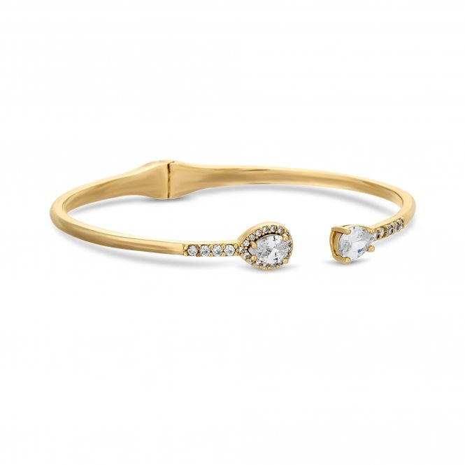 Gold Crystal Pear Open Cuff Bangle