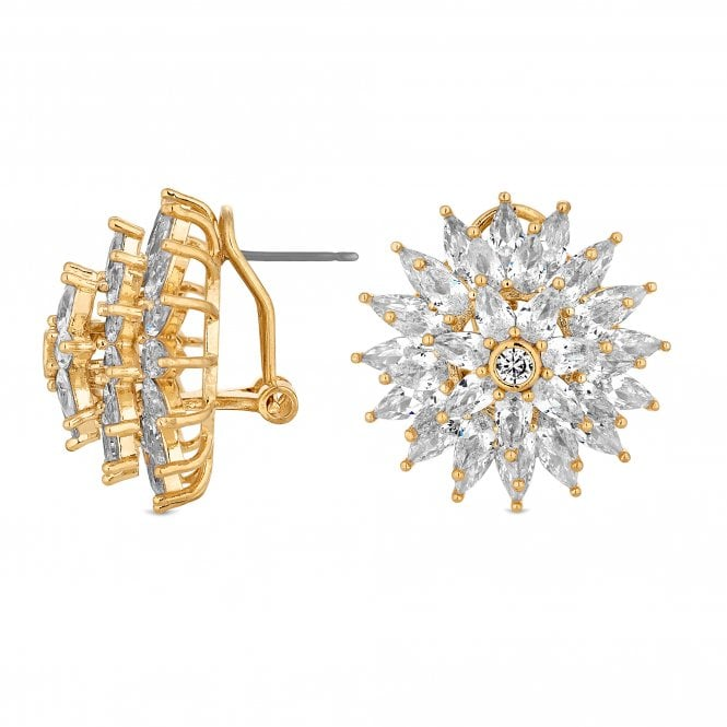 Gold Cubic Zirconia Burst Statement Stud Earring