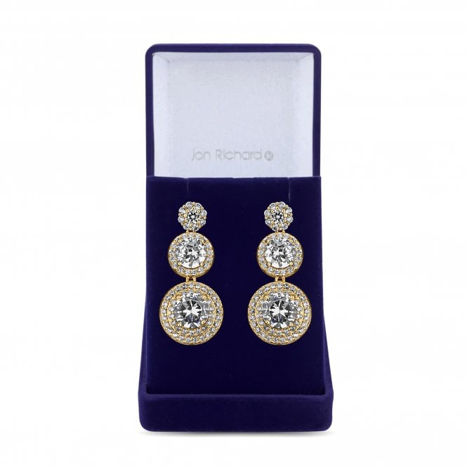 Gold Cubic Zirconia Graduated Drop Earring