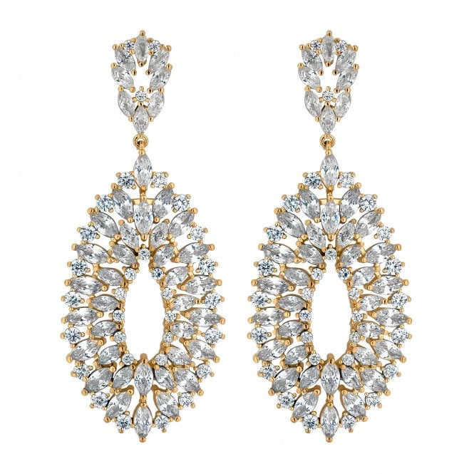 Gold Cubic Zirconia Peardrop Statement Earring