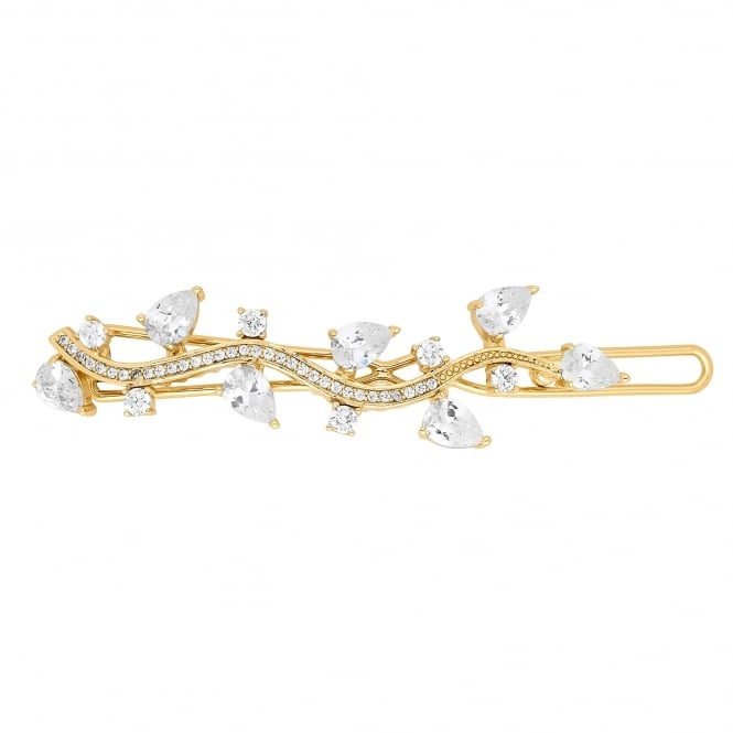 Gold cubic zirconia peardrop swirl hairclip