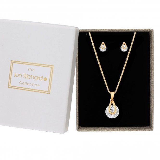 Gold Cubic Zirconia Pendant Set With Matching Stud Earrings