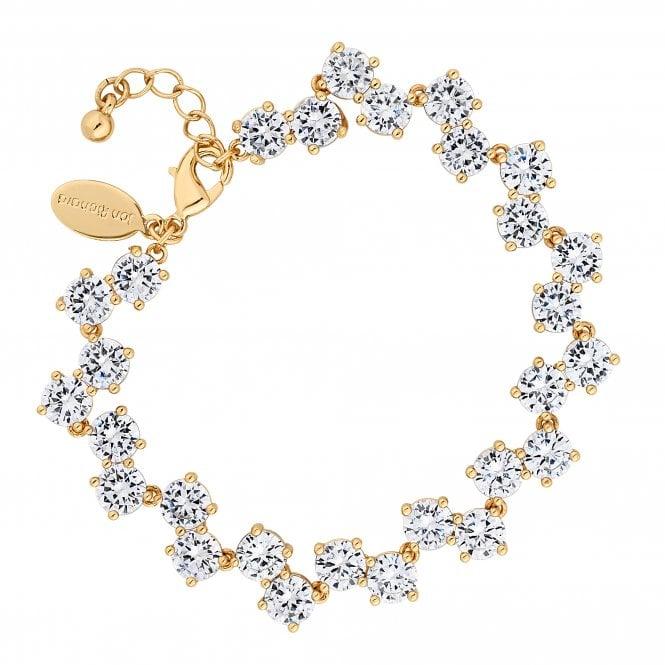 Gold Cubic Zirconia Wave Statement Bracelet