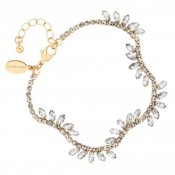 Gold Diamante Crystal Leaf Bracelet