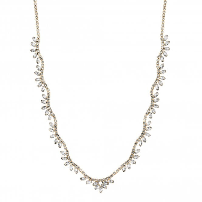 Gold Diamante Crystal Leaf Necklace