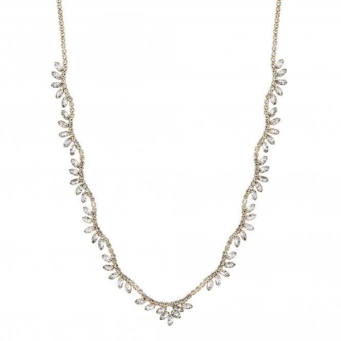 Gold Diamante Crystal Leaf Necklace