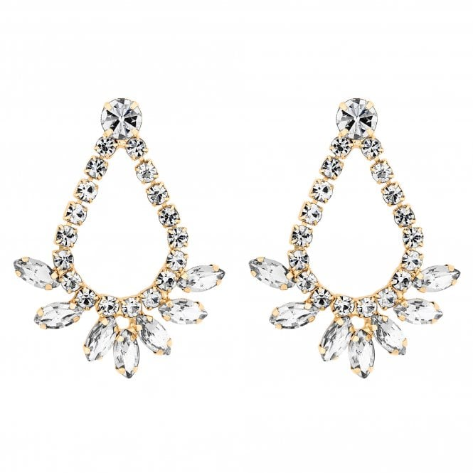 Gold Diamante Leaf Drop Earring