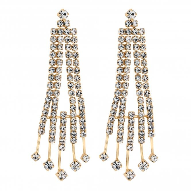 Gold Diamante Stick Drop Earring