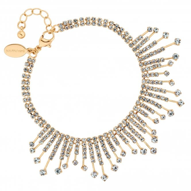 Gold Diamante Stick Statement Bracelet