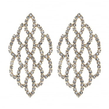 Gold diamante weave drop earring