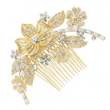 Gold floral crystal hair comb