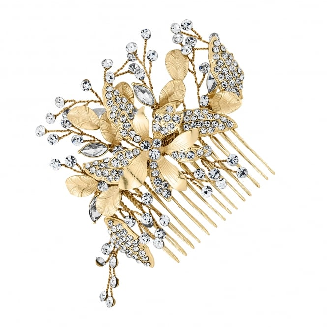 Gold Floral Leaf Spray Hair Comb
