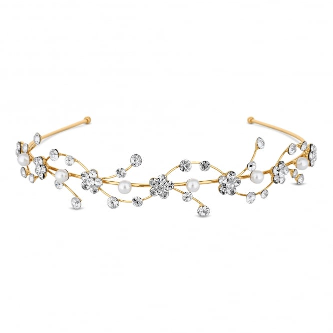 Gold Floral Pearl Wave Headband