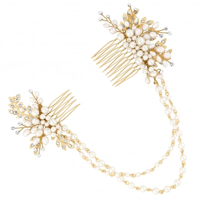 Gold Freshwater Pearl Drape Double Hair Comb