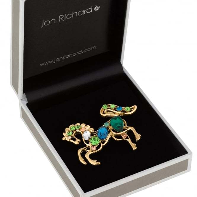 Jon Richard Gold Green Crystal Horse Brooch In A Gift Box