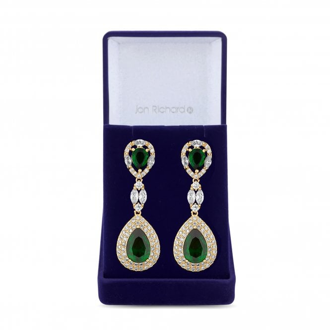 Gold Green Cubic Zirconia Peardrop Drop Statement Earring