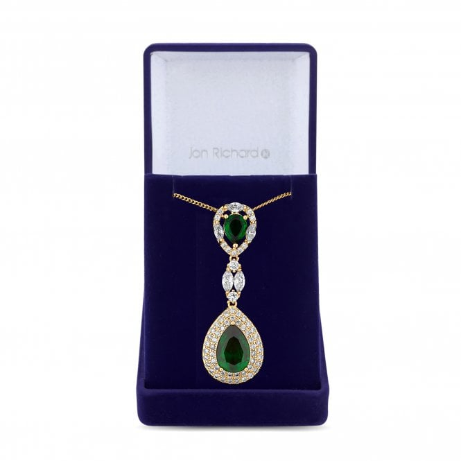 Gold Green Cubic Zirconia Peardrop Pendant Necklace