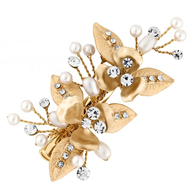 Gold Leaf And Crystal Hair Clip
