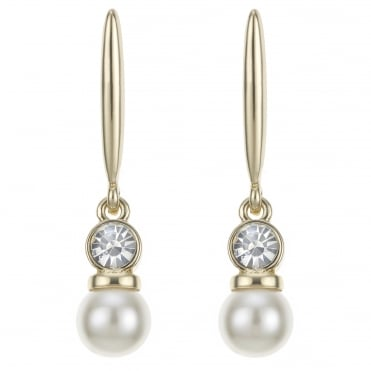 Gold pearl and crystal drop stick earring