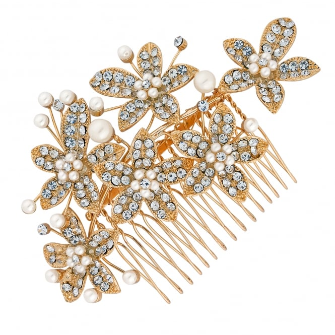 Gold Pearl Flower Hair Comb