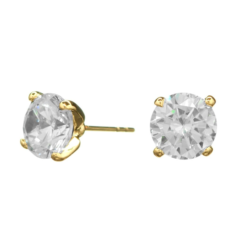 Jon Richard Gold Plated 10mm Cubic Zirconia Round Stud Earring