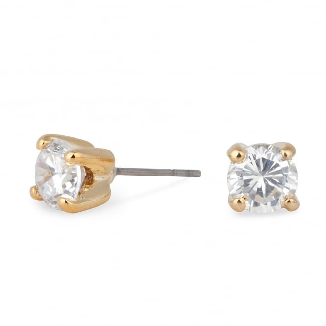 Gold Plated 6mm Cubic Zirconia Round Stud Earring