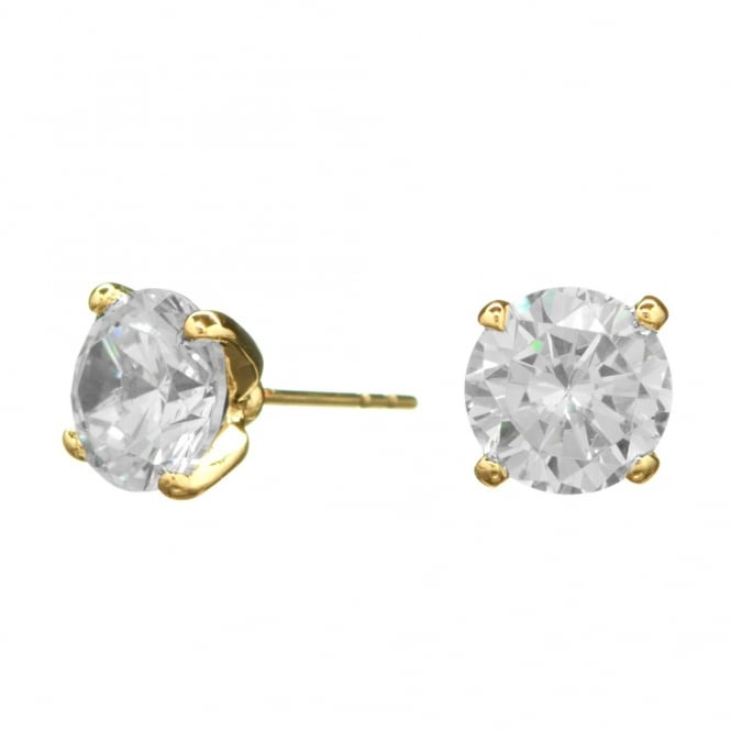 Gold Plated 8mm Cubic Zirconia Round Stud Earring