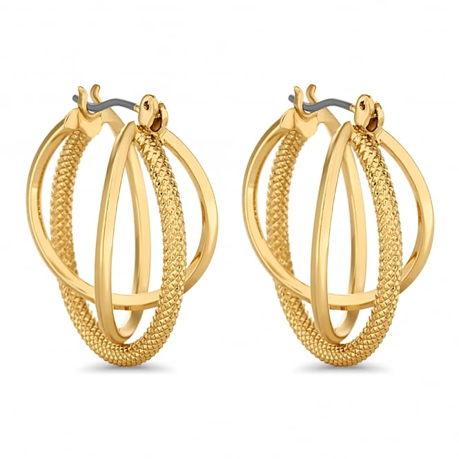 Gold Plated Braided Triple Hoop Earring