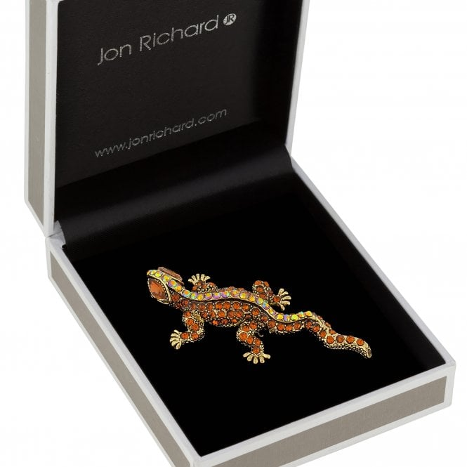 Gold Plated Brown Crystal Lizard Animal Brooch