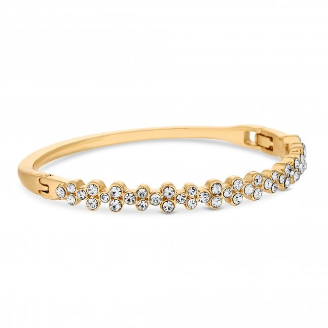 Gold Plated Clear Crystal Double Tennis Bangle Bracelet