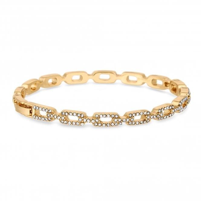 Gold Plated Clear Crystal Link Bangle Bracelet