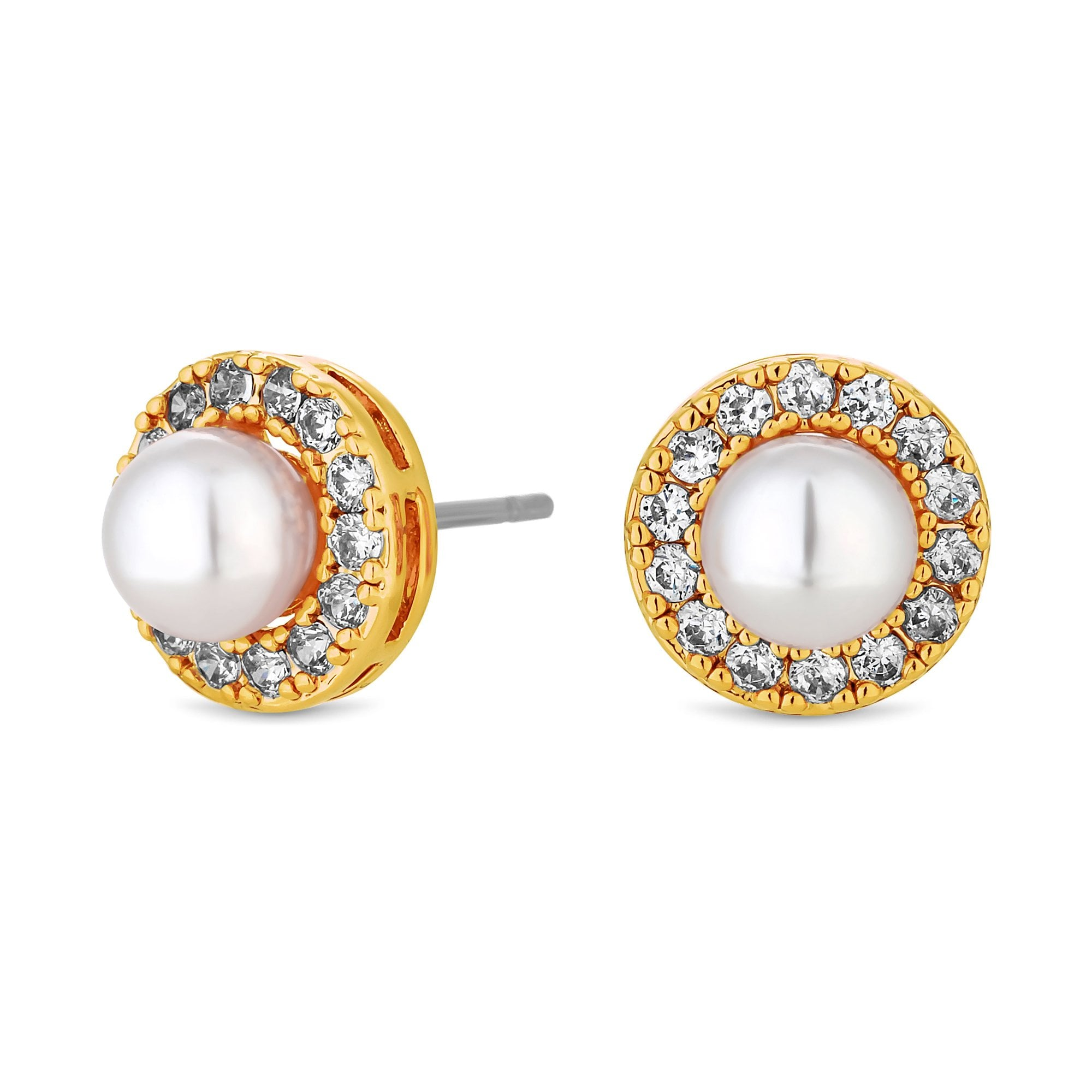 db636de8b35 Jon Richard Gold Plated Clear Crystal Pave Surround Centre Pearl Stud  Earring