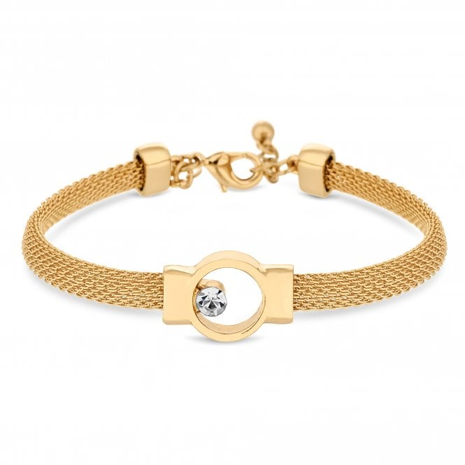Image of Gold Plated Clear Mesh Open Crystal Stone Bracelet