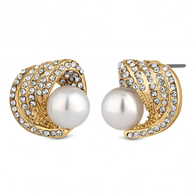 Jon Richard Gold Plated Crystal And Pearl Swirl Stud Earring